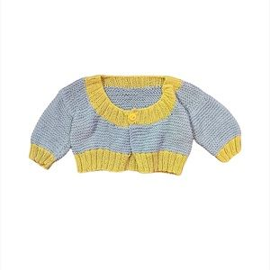 ✨3 for $30✨Handmade 2T Girls Blue Soft Knit Button Up Cardigan Sweater